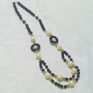 TRIFARI Black White Faux Pearl Beaded Necklace